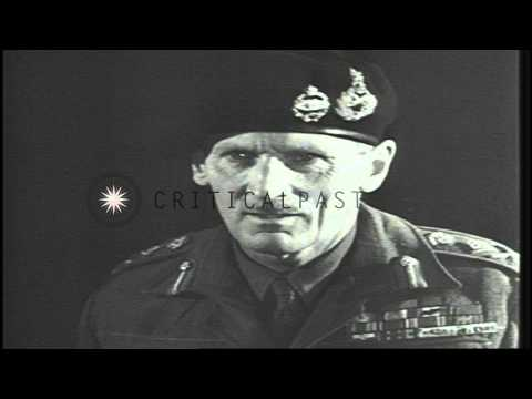 British Field Marshal Bernard Montgomery visits a war factory and speaks to worke...HD Stock Footage