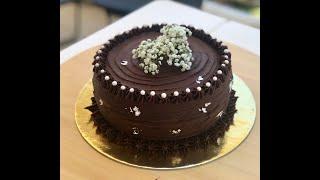 Dark Chocolate Ganache II How to cover & decorate a cake with chocolate ganache - Tutorial