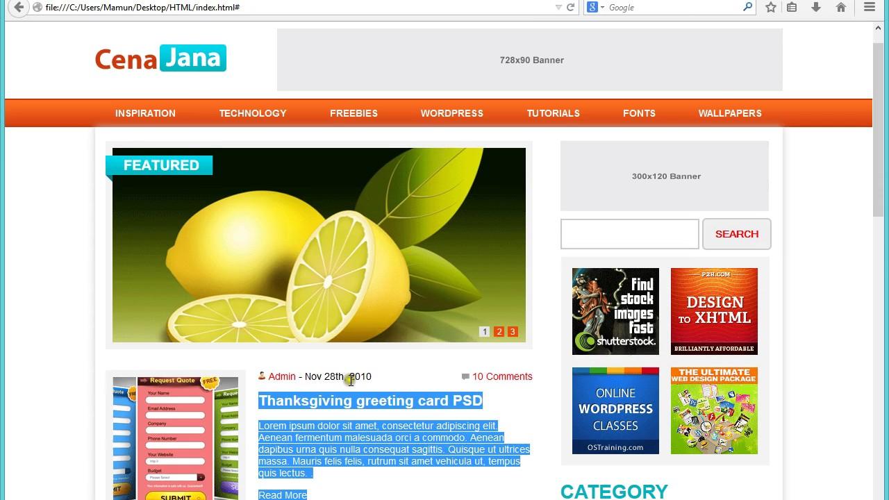 Wordpress Theme Development Bangla Tutorial Part 1 Youtube