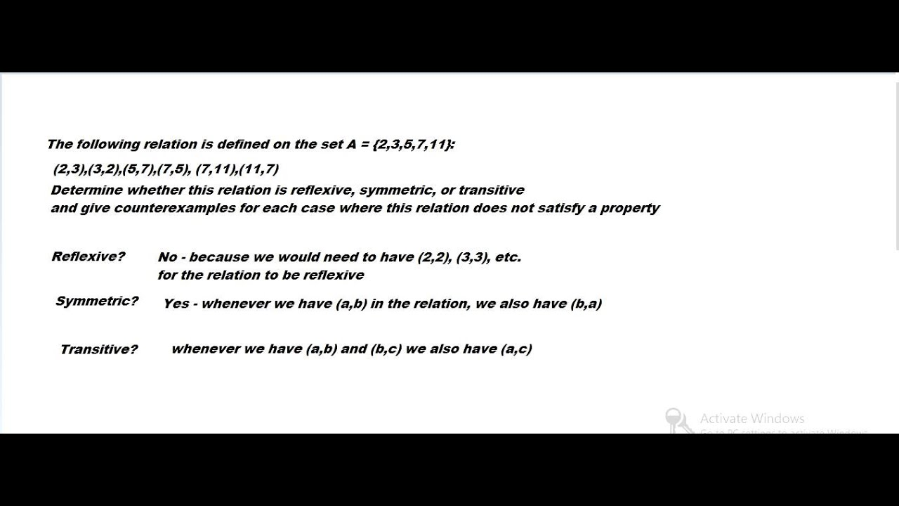 Another Example Of A Binary Relation Youtube