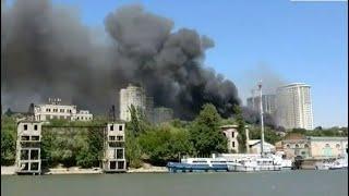 Крупный пожар в Ростове на Дону попал на видео