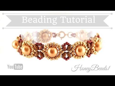 Beginners Bracelet Sunflower Tutorial *(3)* Beading Tutorial by HoneyBeads1 (with superduo beads)