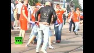 Polska-Rosja Zadyma na pochodzie Rosjan Euro2012(mecz)