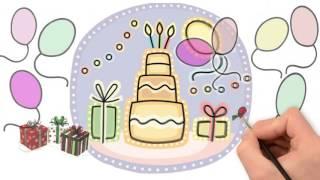 Рисованная видео открытка с днем рождения