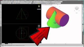 [Начертательная геометрия]  Пересечение конуса и цилиндра.mp4