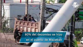 En los primeros 15 meses de la administración del presidente, Andrés Manuel López Obrador, la Secretaría de Marina, en coordinación con otras autoridades, decomisaron 144 toneladas de drogas diversas en 22 de los 102 puertos de ambos litorales del país. Alrededor del 80% del total de drogas aseguradas se realizó en el puerto de Mazatlán, Sinaloa, uno de los más importantes