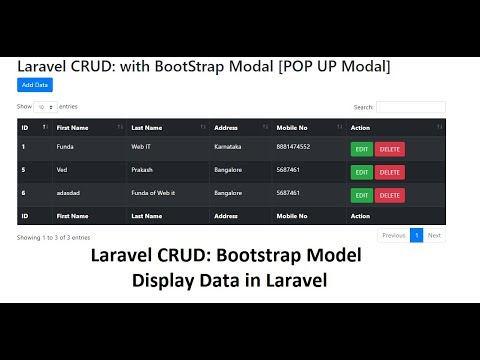 Laravel CRUD: Bootstrap Modal: Fetch Data in Table (POP UP Modal)
