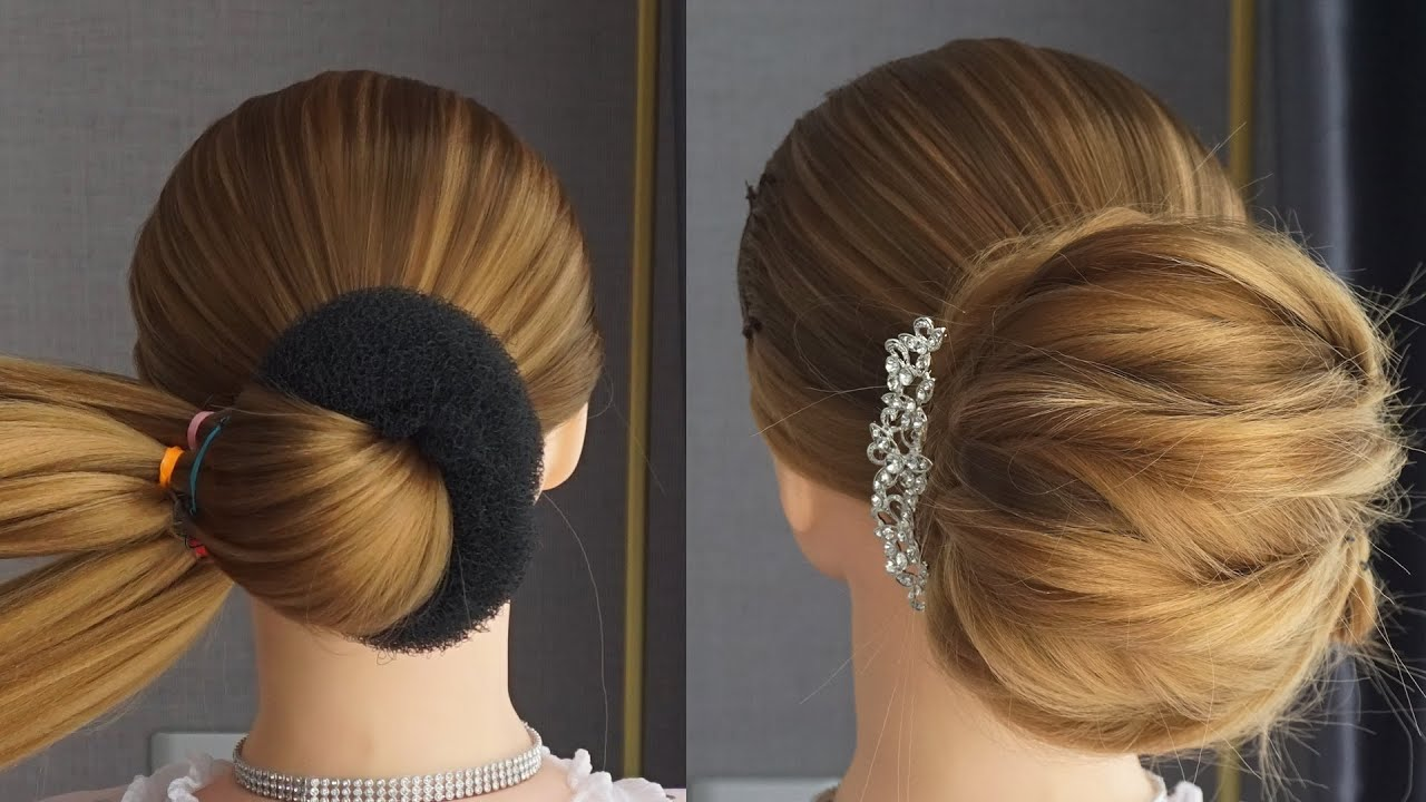 Latest French Bun Hairstyle With Using Donut | French Roll Hairstyle | Bridal Hairstyle Bun