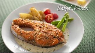 Salmon Bakar Cadangan Hidangan: 4 – 6 orang Bahan-Bahan 200g Ikan Salmon (dibuang tulang) 3 sudu besar Minyak Zaitun 1 ulas Bawang Putih (dicincang ...
