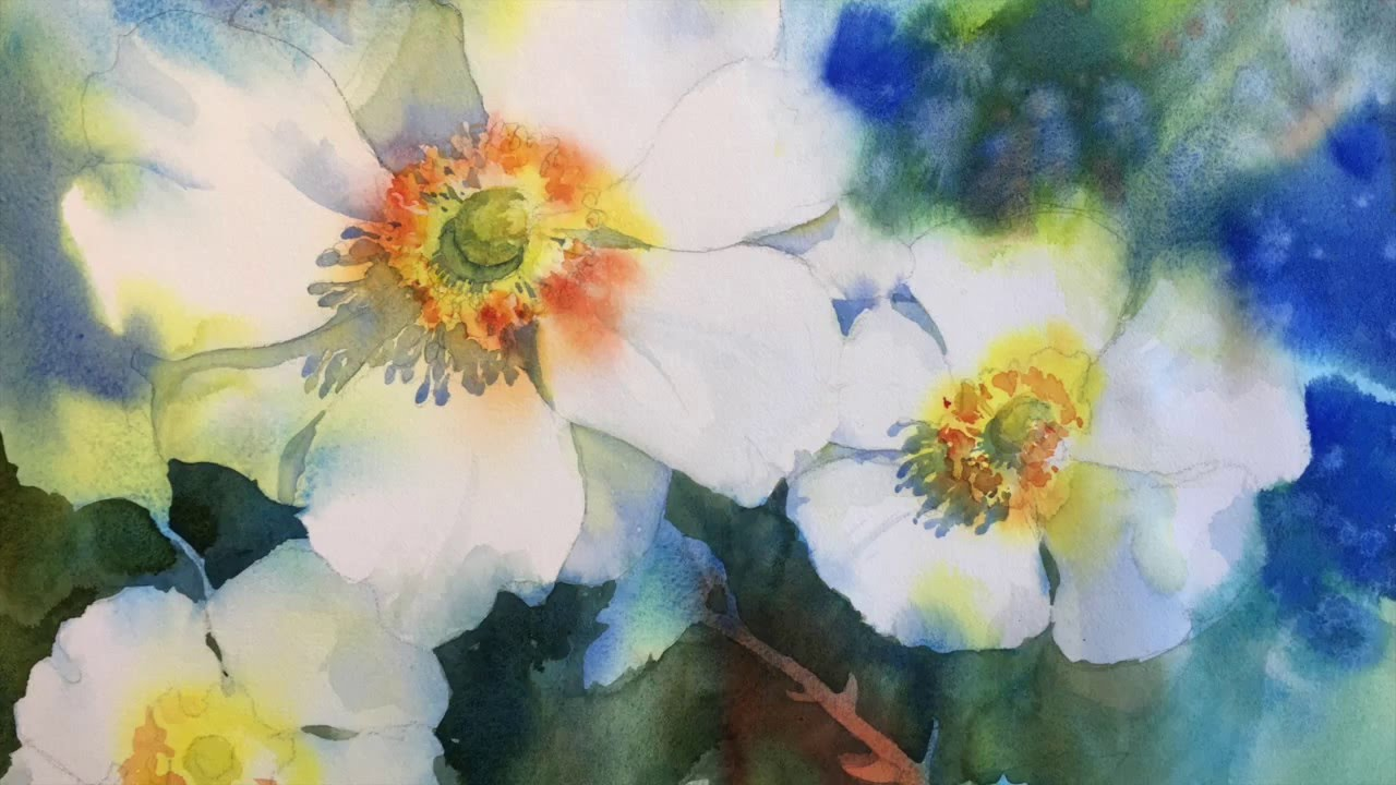 Negative Painting With Watercolor White Blossoms Youtube