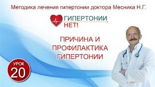 Урок 20. Причина и профилактика гипертонии. Гипертонии-НЕТ! Методика лечения гипертонии Месника Н.Г.