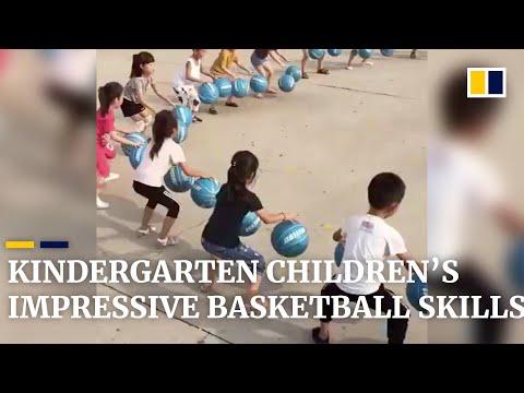 Chinese kindergarten children's impressive basketball skills go viral globally