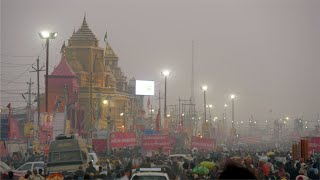 Night view of an Indian temple at the Kumbh Mela 2019 - Prayagraj, India