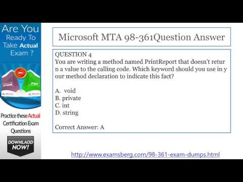 Get Real Exam Question And Answers For Microsoft 98-361
