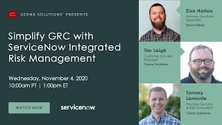 Webinar: Simplify GRC with ServiceNow Integrated Risk Management