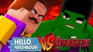 HELLO NEIGHBOUR VS THE AVENGERS - Minecraft Challenge