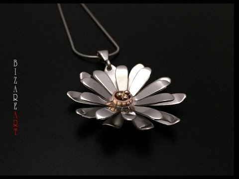 DIY: How to make Gerbera Daisy flower pendant with Silver all by hand