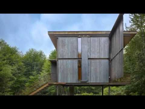 Steel Clad 350 Sq. Ft. Modern Cabin on Stilts with Shutters