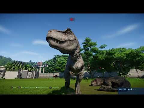 jurassic-world-evolution:-tyrannosaurus-rex-pair-vs-ouranosaurus-herd
