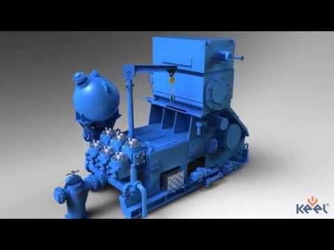 Mud pump used on an offshore drilling rig. 3D model created by Keel