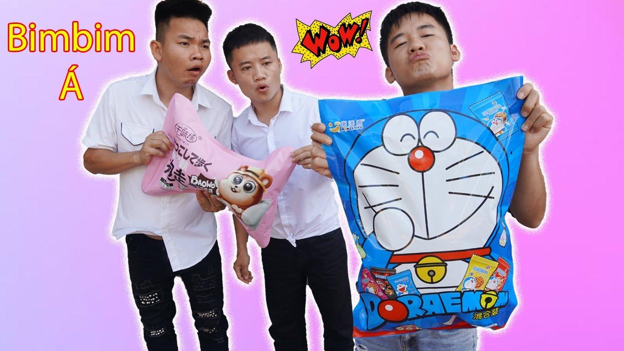 Hưng Troll   Bị Trẻ Trâu Khinh Thường Thách Thức Làm Gói Bim Bim Doraemon Khổng Lồ Và Cái Kết