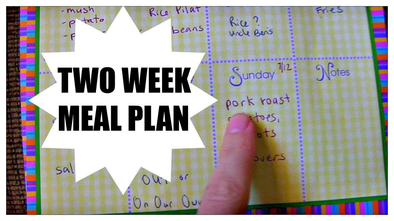 two week meal plan youtube