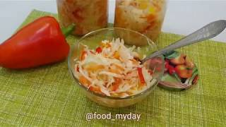 Быстрая маринованная капуста со сладким перцем