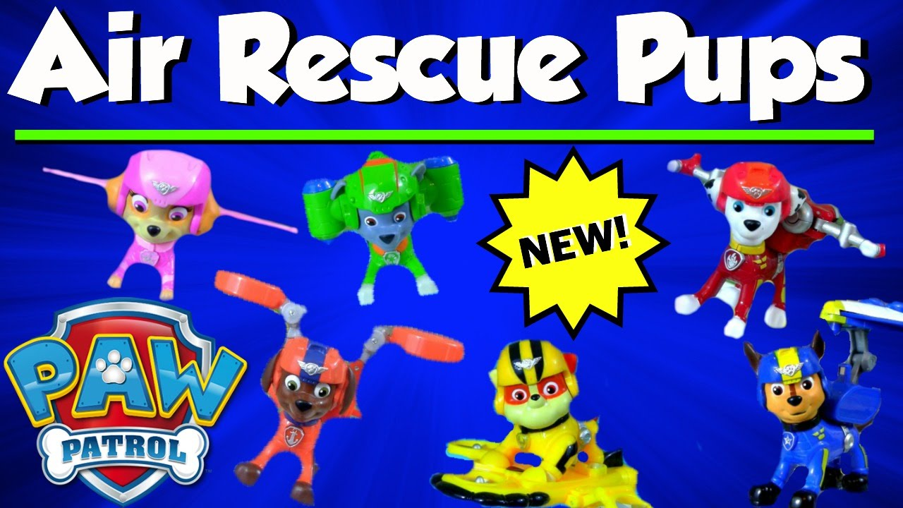 Paw Patrol Air Rescue Pups Pack and Badge! NEW 2016 - Rubble, Marshall,  Skye, Chase, Zuma, Rocky