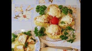 Вторые блюда - Фаршированный перец с рубленым мясом , овощами и сыром