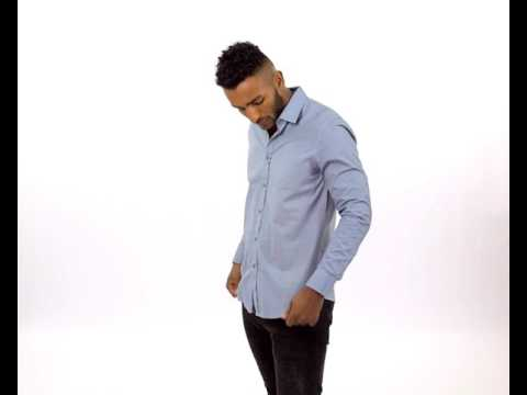 AKRON-D555 Light Blue Tile Print Long Sleeve Shirt