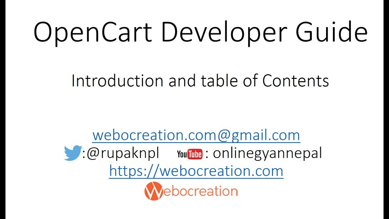 OpenCart Module Development Video Tutorial Introduction and