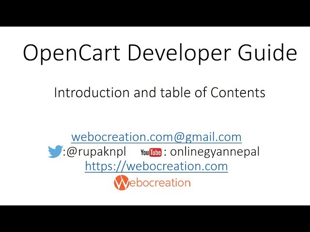 Introduction and Table of contents - Opencart development