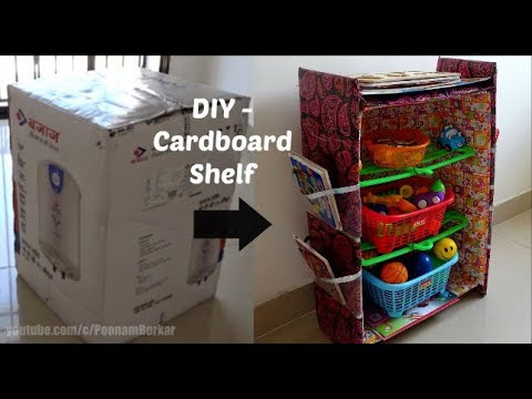 DIY - Cardboard shelf   Recycling cardboard boxes   Best out of waste