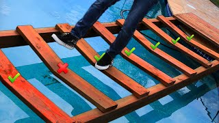 Trap Door Bridge over Pool Challenge!! *DONT STEP ON THE WRONG PLANK*