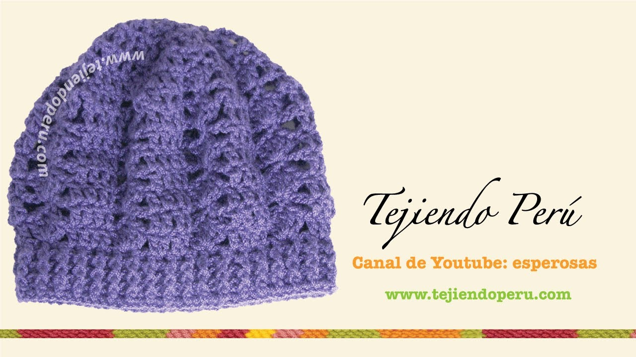 Boina tejida en crochet (slouchy beret) Parte1 - Tejiendo Perú - YouTube 32d48ddff05
