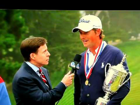 Webb Simpson US Open Champion Interview Crashed by Rooster Man?