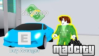 Getting the AVENGER [FASTEST CAR] in Mad City Roblox Codes Update
