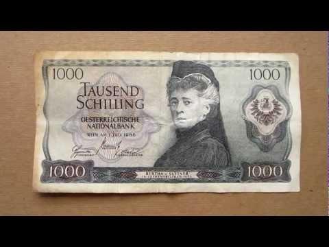 1000 Austrian Schilling Banknote (Thousand Austrian Schilling / 1966), Obverse & Reverse