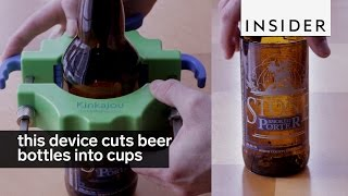 This device cuts beer bottles into glass cups