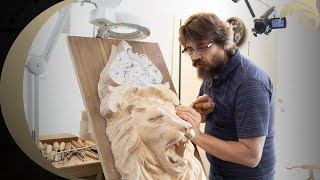 WOODCARVING process [Lion  Ornamental Wood Carving]