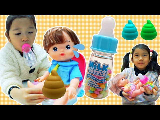 ●普段遊び●再アップ☆メルちゃん達お菓子食べ過ぎて大変な事になっちゃった!Mell Chan Toilet Colorful Poop Prank!candy Baby Bottle