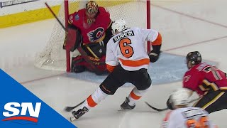 Travis Sanheim Skates By Calgary Flames And Dekes Mike Smith To Score