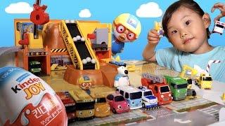 보물을 찾아라! 꼬마 버스 타요 중장비 놀이 세트 서프라이즈 에그 뽀로로 장난감 숫자 애니  LimeTube & Toy 라임튜브 Игрушки