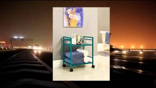 Altra Furniture 2-shelf Metal Rolling Utility Cart Or Industrial Table Gorgeous Teal Finish