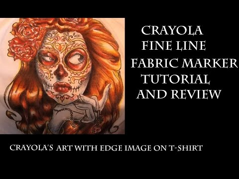 Crayola Fine Line Fabric Marker Tutorial & Review: Coloring page on T-shirt