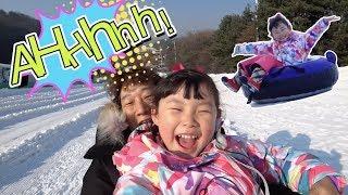 라임의 한겨울 에버랜드 100배 즐기기~! 눈썰매장과 트램폴린 놀이공원 체험 놀이 LimeTube & indoor playground