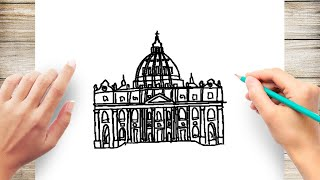 How to Draw St Peter Basilica for Kids
