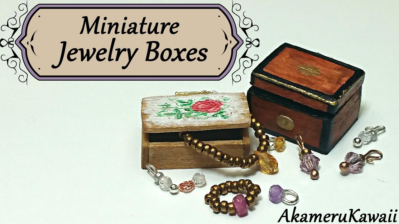 Miniature jewelry boxes dollhouse tutorial youtube for How to make a ring box out of wood