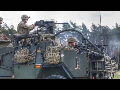 British Army Soldiers Fire Machine Gun & Grenades From Jackal 2 Armoured Vehicle