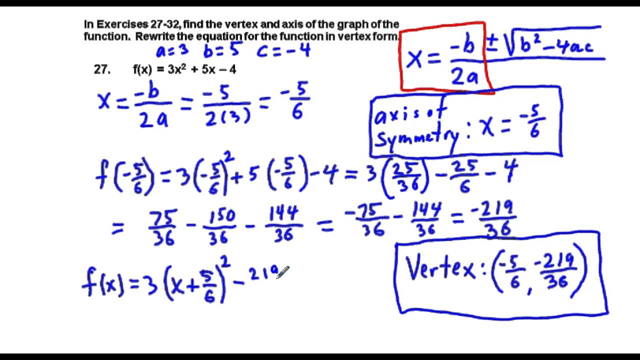 Precalculus chapter 21 exercises 27 32 convert quadratic precalculus chapter 21 exercises 27 32 convert quadratic functions from standard to vertex form falaconquin